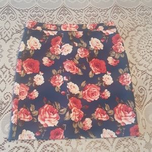 Forever 21 blue and pink floral midi skirt